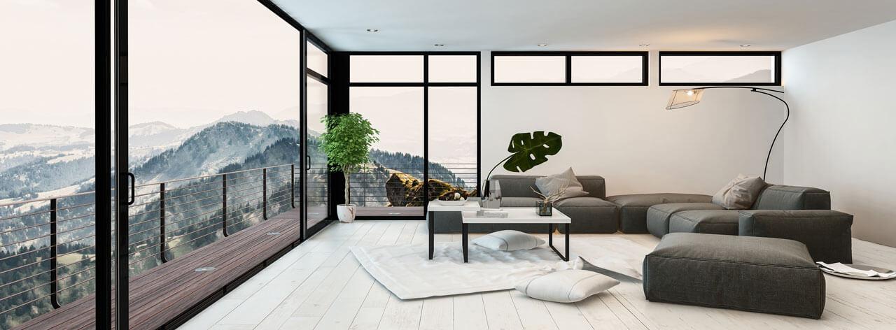 Beste Aussicht in der Zentralschweiz modernes Wohnzimmer im clean look